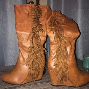 Charlotte Russe faux leather wedge boots